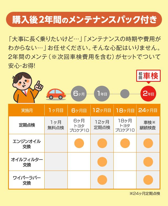 トヨタカローラ沖縄で中古車を購入すると、2年間のメンテナンスパックがついてくる!